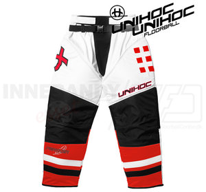 Unihoc Feather Goalie Pants White / Neon Red