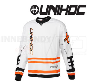 Unihoc Feather Goalie Jersey White/Neon Orange