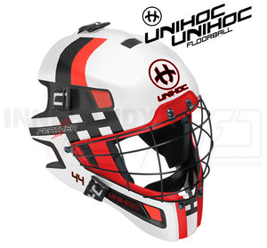 Unihoc Goalie Mask Unihoc Summit 44 Feather white / red