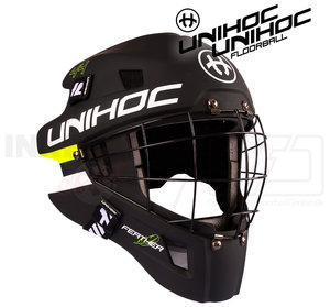 Unihoc Goalie Mask Feather 44 black / neon yellow