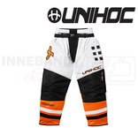 Unihoc Feather Goalie Pants White/Neon Orange